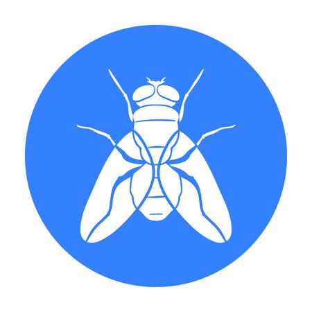 Ikona Fly w stylu czarno na białym tle. Insekta symbol Stockowa ilustracja wektorowa. Ilustracje wektorowe