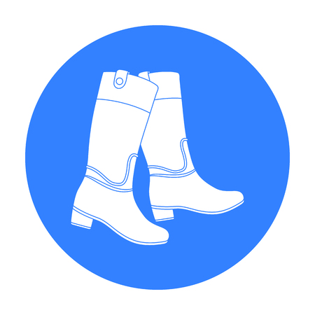 Jockeys high boots icon in black style isolated on white background. Hippodrome and horse symbol stock vector illustration.