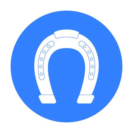 Horseshoe icon in black style isolated on white background. Hippodrome and horse symbol stock vector illustration. Illustration