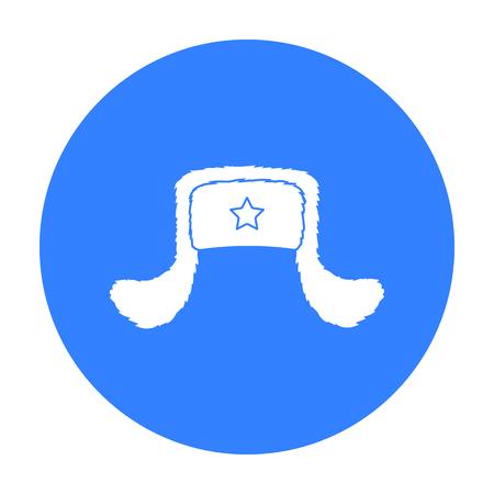 beanie: Ushanka icon in black style isolated on white background. Hats symbol stock vector illustration.