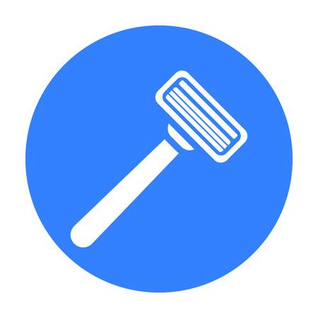 Icône de rasoir de sûreté dans un style noir isolé sur fond blanc. Illustration de vecteur stock symbole coiffure.