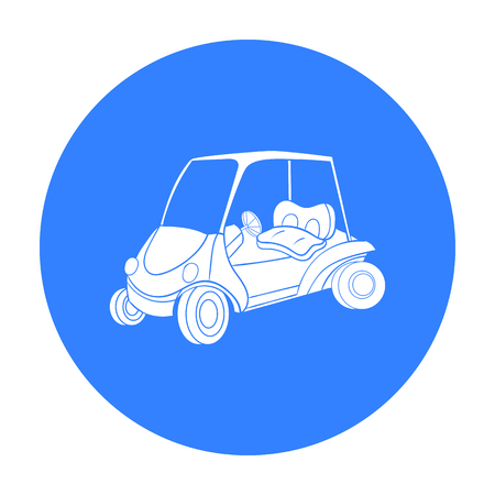 Golf cart icon in black style isolated on white background. Golf club symbol stock vector illustration.