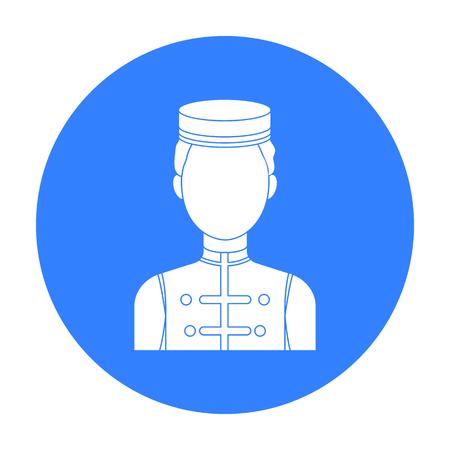 Icône de Bellboy dans un style noir isolé sur fond blanc. Hotel symbole illustration vectorielle stock Vecteurs