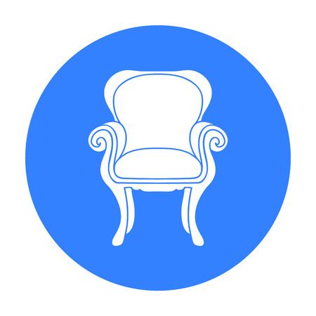 Wing-back chair icon in black style isolated on white background. Furniture and home interior symbol stock vector illustration. Illustration