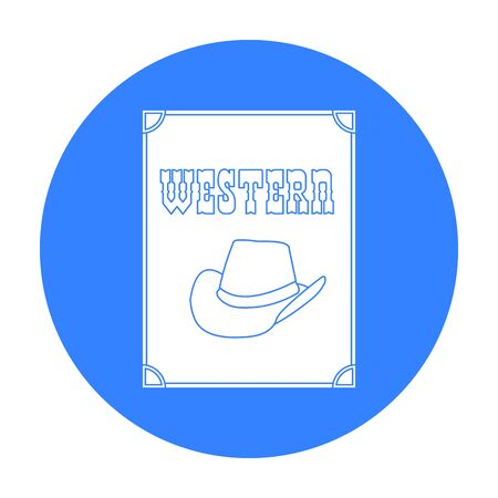 Western movie icon in black style isolated on white background. Films and cinema symbol stock vector illustration.