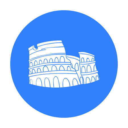 flavian: Colosseum in Italy icon in black style isolated on white background. Italy country symbol vector illustration. Illustration
