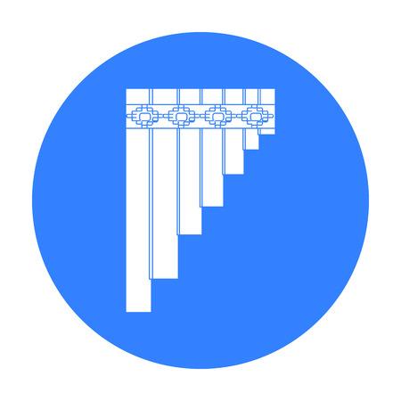 zampona: Mexicana icono de flauta de pan en el estilo de negro sobre fondo blanco. país símbolo ilustración stock vector de México. Vectores