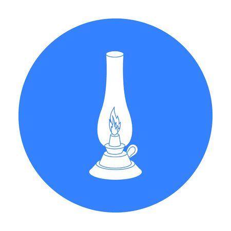 gas lamp: Kerosene lamp icon in black style isolated on white background. Light source symbol stock vector illustration