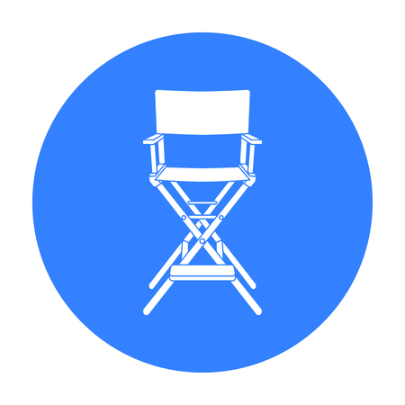 lightweight: Directors chair icon in black style isolated on white background. Films and cinema symbol stock vector illustration. Illustration