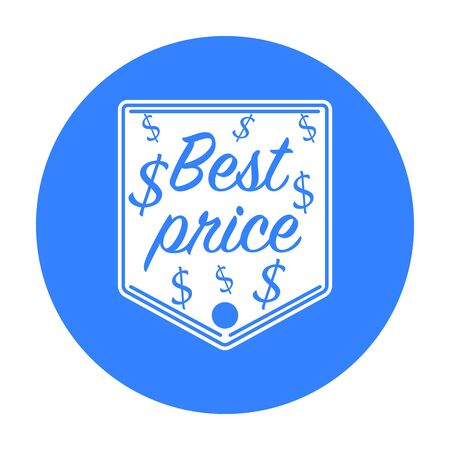 Best price icon in black style isolated on white background. Label symbol stock vector illustration.