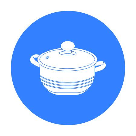 stockpot: Stockpot icon in black style isolated on white background. Kitchen symbol stock vector illustration.
