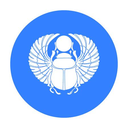 horus: Escarabajo icono de estilo negro sobre fondo blanco. ilustración de símbolo de la acción del vector antiguo Egipto.