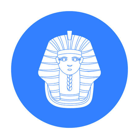 Pharaoh s golden mask icon in black style isolated on white background. Ancient Egypt symbol stock vector illustration.