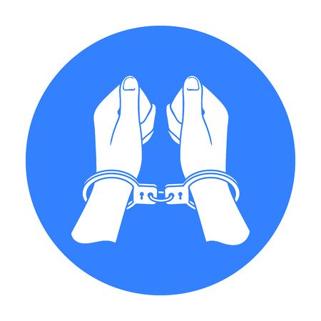 incarceration: Hands in handcuffs icon in black style isolated on white background. Crime symbol stock vector illustration. Illustration