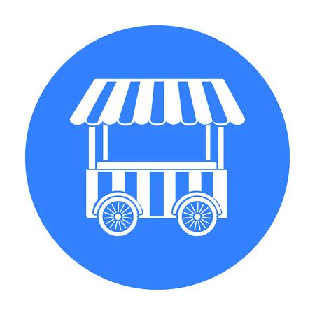 Icono de carrito de snack en estilo negro aislado sobre fondo blanco. Ilustración de vector stock de símbolo de circo.