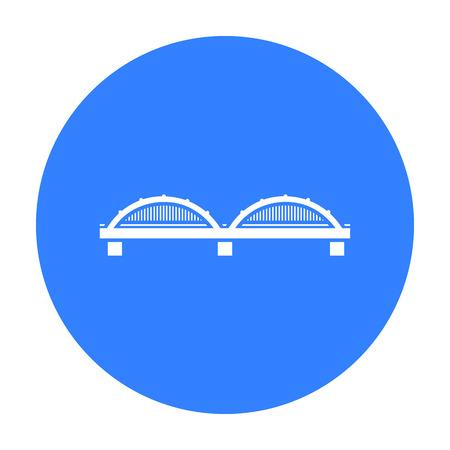 Icône du pont noir. Icône de bâtiment unique de l'infrastructure de la grande ville noire. Vecteurs
