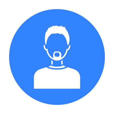 Man with a beard icon black. Single avatar,peaople icon from the big avatar black.