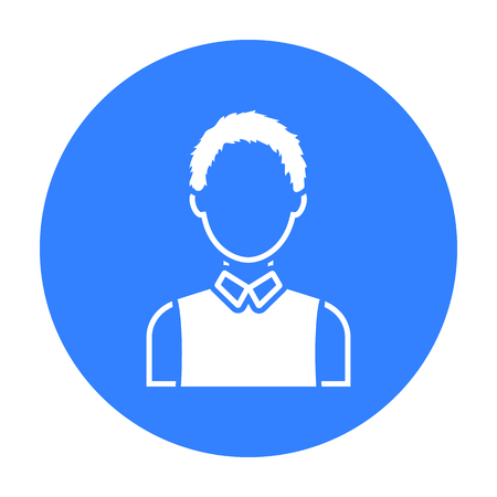 Boy icon black. Single avatar,peaople icon from the big avatar black. Illustration