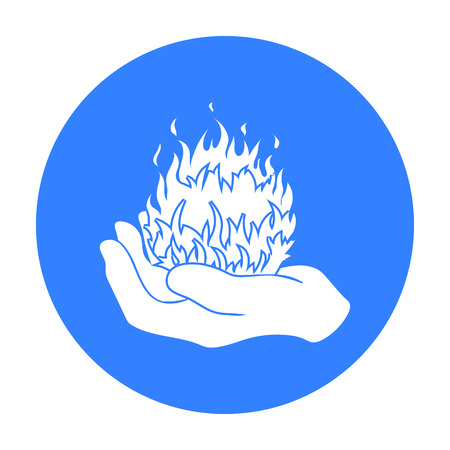 Fire spell icon in black style isolated on white background. Black and white magic symbol stock vector illustration. Illustration
