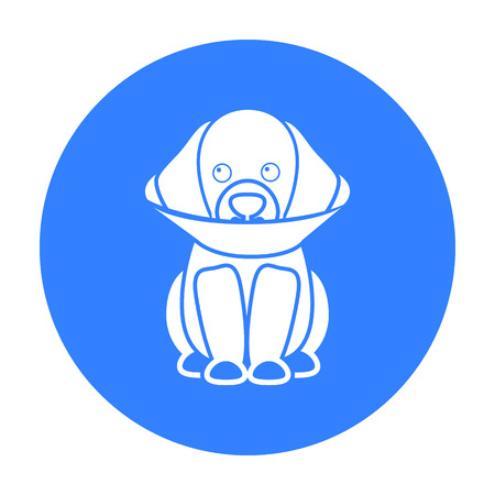 compress: Sick dog vector icon in black style for web Illustration