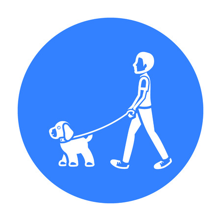 Dog walk vector icon in black style for web
