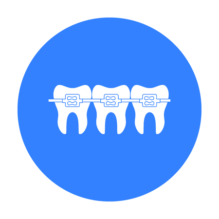 白い背景に分離された黒のスタイルのアイコンを歯科ブレース歯。歯科医療のシンボル株式ベクトル イラスト。