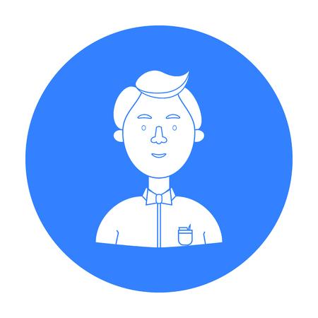 Icono de científico en estilo negro aislado sobre fondo blanco. Gente de diferente profesión símbolo stock vector ilustración.