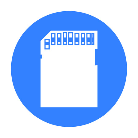 sd: SD card icon in black style isolated on white background. Personal computer symbol stock vector illustration.