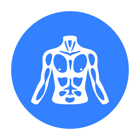 unclothed: Chest icon in black style isolated on white background. Part of body symbol stock vector illustration. Illustration