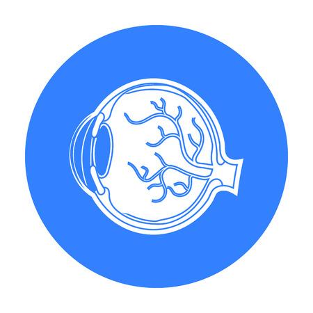 optic nerve: Eyeball icon in black style isolated on white background. Organs symbol stock vector illustration.