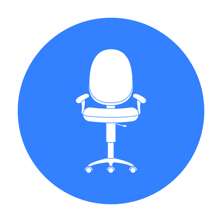 Office chair icon in black style isolated on white background. Office furniture and interior symbol stock vector illustration. Illustration