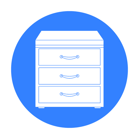 Icône de bureau de classeur en style noir isolé sur fond blanc. Mobilier de bureau et symbole d'intérieur illustration vectorielle.