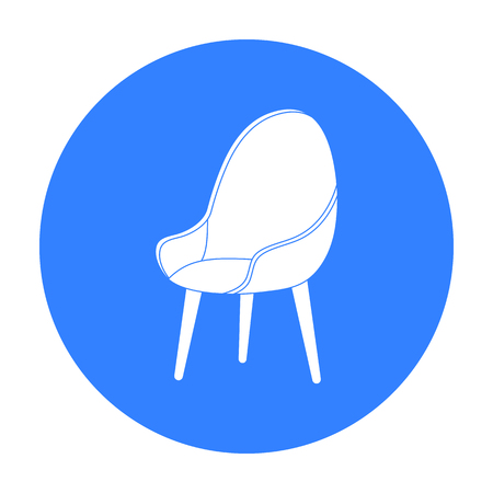 Red oval chair icon in black style isolated on white background. Office furniture and interior symbol stock vector illustration. Illustration