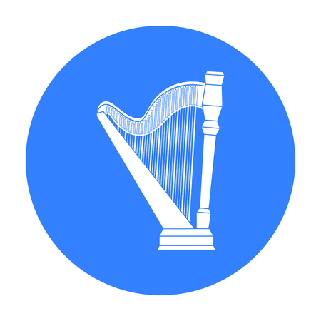 Harp icon in black style isolated on white background. Musical instruments symbol stock vector illustration