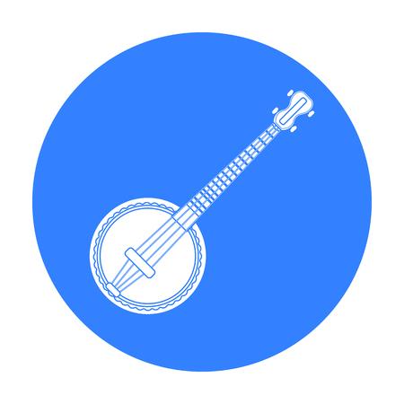 the resonator: Banjo icon in black style isolated on white background. Musical instruments symbol stock vector illustration Illustration