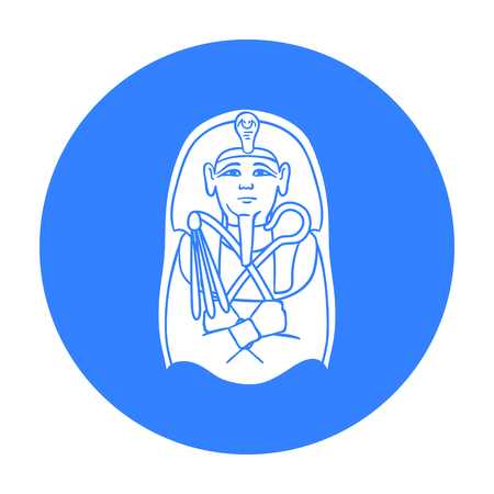 Egyptian pharaoh sarcophagus icon in black style isolated on white background. Museum symbol stock vector illustration.