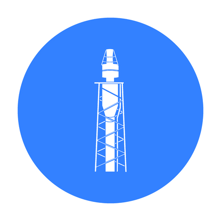 Oil Rig Icon In Black Style Isolated On White Background Oil