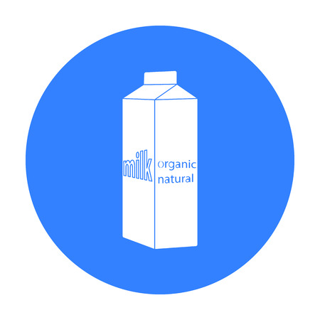 gable: Milk gable top carton package icon in black style isolated on white background. Milk product and sweet symbol stock vector illustration.