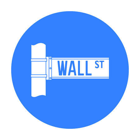 ny: Wall Street sign icon in black style isolated on white background. Money and finance symbol stock vector illustration.