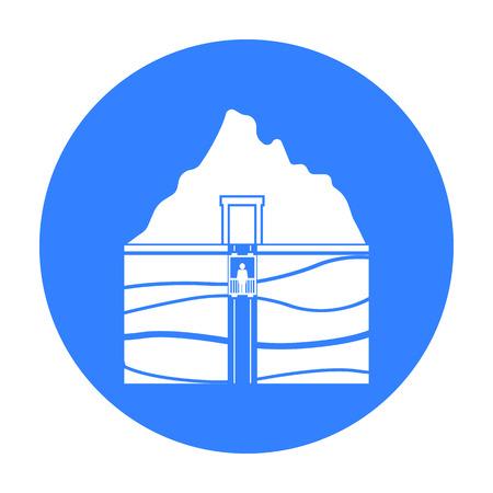Mine shaft Symbol in schwarz-Stil auf weißem Hintergrund. Minen Symbol Vektor-Illustration.