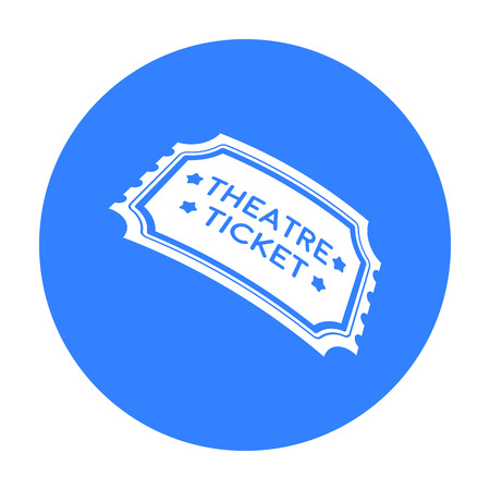admit: Theatre ticket icon in black style isolated on white background. Theater symbol stock vector illustration