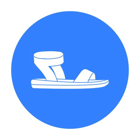 Icona di sandali donna in stile nero isolato su priorità bassa bianca. Scarpe simbolo illustrazione vettoriali stock.