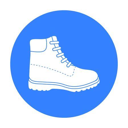 Icono de botas de senderismo en estilo negro aislado sobre fondo blanco. Zapatos símbolo stock ilustración vectorial.