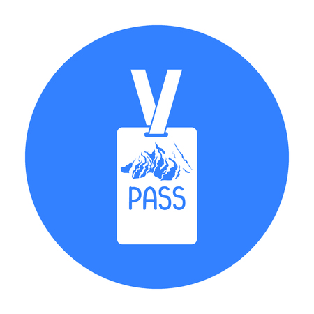 mountain pass: Ski pass icon in black style isolated on white background. Ski resort symbol stock vector illustration.
