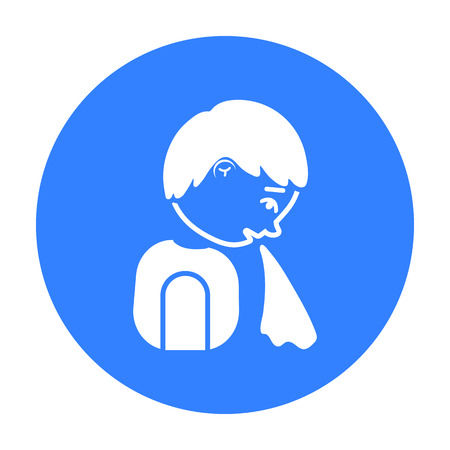 Vomiting icon black. Single sick icon from the big ill, disease black. Illustration