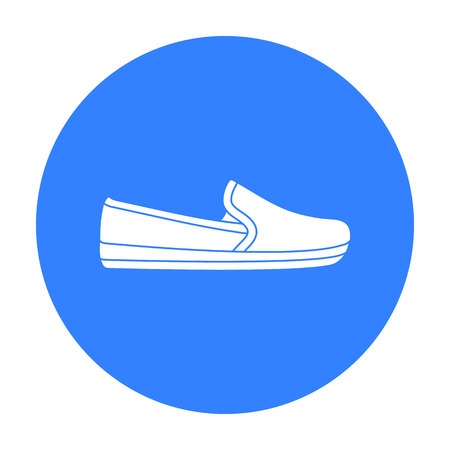 loafers: Moccasin icon in black style isolated on white background. Shoes symbol stock vector illustration. Illustration