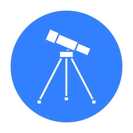 Telescope icon black. Single education icon from the big school, university black.