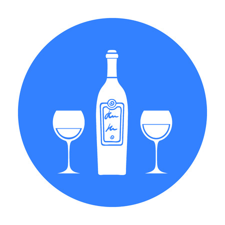 Bottle of red wine with glasses icon in black style isolated on white background. Restaurant symbol stock vector illustration.