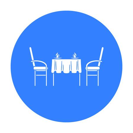 dinner date: Restaurant table icon in black style isolated on white background. Restaurant symbol stock vector illustration. Illustration