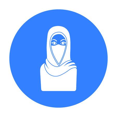 niqab: Niqab icon in black style isolated on white background. Religion symbol stock vector illustration. Illustration